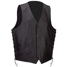 Men's Motorcycle Biker Concealed Carry gun pocket  Leather Vest