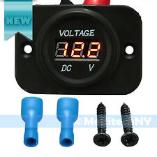 P1 Red LED Digital Waterproof Voltmeter Gauge Meter 12V-24V Car Auto Motorcycle