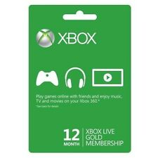Xbox 360/One Live 12 Month Gold Membership Card Code Immediate Instant Delivery
