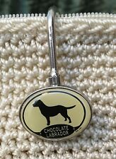 Chocolate Labrador Dog Resin Metal Charm Purse/Backpack Key Ring Finder Key Hook