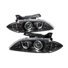 Pair Black Projector Head Lights Lamps Chevy Cavalier 95-99 LED HALO 1 Yr Warran