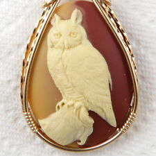 Horned Owl Cameo Pendant 14K Rolled Gold Artisan Jewelry Multi-Colored Resin