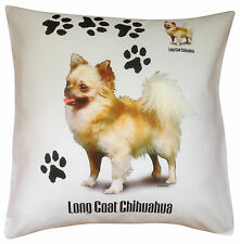 Chihuahua Longhaired Paws Breed of Dog Cotton Cushion Cover - Perfect Gift
