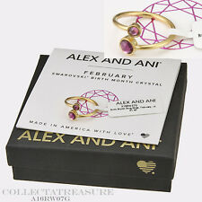 Authentic Alex and Ani February 14kt GP Birth Month Ring