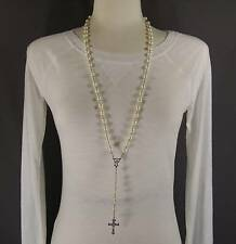 """Cream faux pearl glass bead beaded rosary silver cross 30"""" long necklace"""