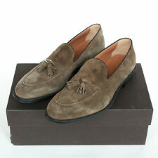 DOUCAL'S $500 hand made in Italy brown suede shoes tassel loafers 43-I/10-US NEW