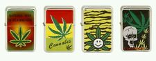 Refillable Flip top Oil Lighters Colorful Pot Leaf Cannabis Set of 4 assorted