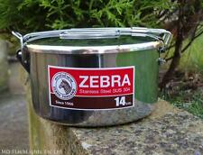 14CM STAINLESS STEEL ZEBRA BILLY CAN LUNCHBOX COOKING POT BUSHCRAFT CAMPING