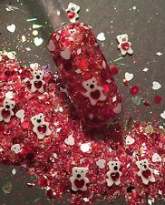 glitter mix acrylic gel nail art  BEAR YOUR HEART  Valentine Mix