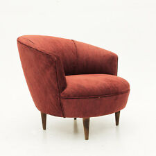 Poltroncina in velluto color rosso anni '50, velvet, armchair