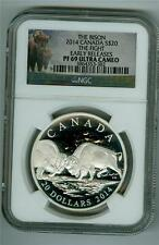 CANADA THE BISON 2014 $20 1 OZ. SILVER THE FIGHT NGC PF-69 ULTRA CAMEO
