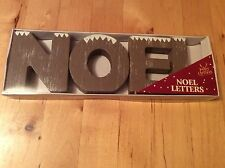 BNIB New Wooden Christmas Letters - NOEL - Snow Topped Wooden Style