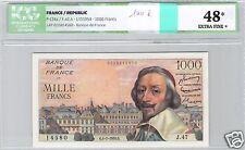 FRANCE 1000 FRANCS RICHELIEU 1-7-1954 ALPHABET J.47 N° 14580 PICK 134a ICG 48 EF