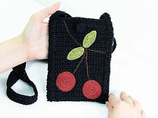 """Crocheted Cell Phone Crossbody Case with Cherries 7"""". Cute Gadget Shoulder Bag"""