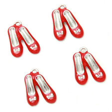 10pcs New Arrival Red Enamel Rhodium Plated Alloy Shoes Shape Charms Pendants D