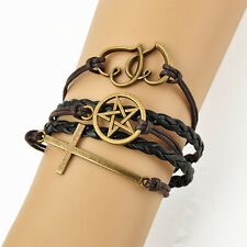 17-22cm Multilayer Bracelet Antique Bronze Cross Pentagram Double Hearts Charms