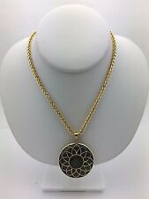 "14k Yellow Gold 22"" Wheat Chain Necklace w/ Flower Big Round Moon Stone Pendant"