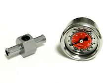 "RED 0-100 PSI RACING FUEL PRESSURE GAUGE & 3/8"" INLINE HOSE END TEE ADAPTER B"