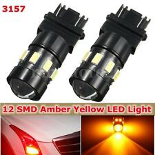 2x 3157 5630 Chip 12SMD LED Bulbs Amber Yellow Car Turn Signal Light Lamp DC 12V