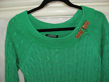 Ralph Lauren Cable Knit Sweater-Buckle Faux Leather-Rbn Green -Medium - NWT $99