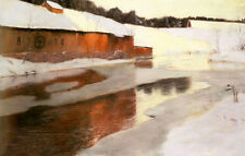 Oil painting Fritz Thaulow a factory building near an icy river in winter scene