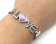 Jewelry Fashion Gift Wedding LOVE Heart Leather Bracelet Plated Silver Purple#3