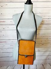 VINTAGE 1960S BROWN TAN LEATHER Red Lined CAMERA LENS BAG Crossbody Strap