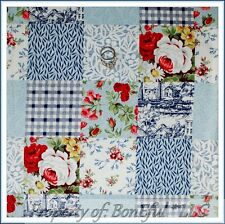 BonEful FABRIC FQ Cotton Quilt VTG Blue Red Flower Sm Block Check SailBoat Toile
