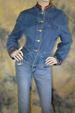vtg 80s THE LIMITED casual MILITARY red GOLD blue DENIM JACKET coat L