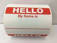 "100 Labels 3.5""x 2.375"" RED Hello My Name Is Badge Tag Identification Stickers"