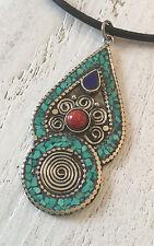 Molto bella amuleto dal Tibet Turchese + corallo + LAPISLAZULI + ARGENTO ALT!