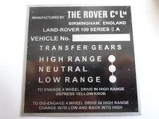 Typenschild Schild Landrover 109 series II A 2 s20 land Rover