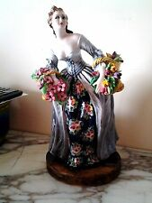 Vintage by Mollica Victorian Woman with 2 baskets Porcelain , Signed, Italy
