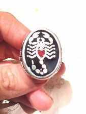1980's Vintage Stainless Steel Size 9 Men's Inlay Scorpion Ring