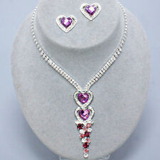 Lavender heart diamante necklace set stud earrings prom party bridesmaid bling