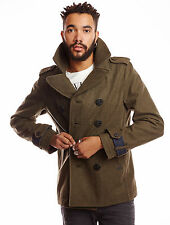 DIESEL W-CHAMP OLIVE GREEN WOOL BLEND PEACOAT SIZE L 100% AUTHENTIC