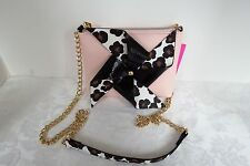 Betsey Johnson Pinwheel Blush Pink Black Animal Spot Cross Body BJ57645H NWT