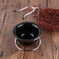 Stainless Steel Shaving Brush Stand Razor Holder and Black Shaving Bowl/ Mug Set
