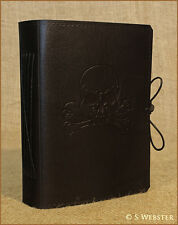BLACK SKULL & CROSSBONES, PIRATE, LEATHER JOURNAL NOTEBOOK free personalisation.
