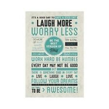 Laugh More Worry Less Motivational Poster Print Wall Art Be Awesome 24x36 Quote