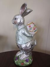 """BELLA LUX 11"""" FAUX CHOCOLATE FOIL EASTER BUNNY RABBIT WITH EGG FIGURINE DECOR"""