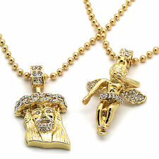 Mens Gold Plated Jesus Angel Piece Combo Set Iced Out Cz Pendant Chain Necklace