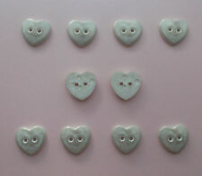 Off White Heart Buttons with Gold Shadowing  x 10