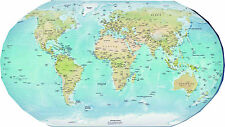 laminated  PHYSICAL WORLD MAP small size 15X22.5 inches educational poster new