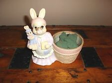 Granny Rabbit & Baby Bunny Pottery Sculpted Planter Home Decor
