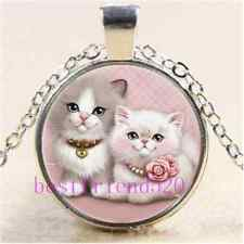 Kitty Cat Love Photo Cabochon Glass Tibet Silver Chain Pendant Necklace