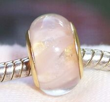 Pale Pink Murano Glass Gold Plated Core Bead fits European Style Charm Bracelets