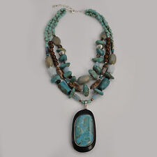 Barse Jewelry Abalone Shell and Turquoise Sterling Silver Triple Strand Necklace