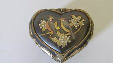 Vintage Black and Gold Heart Shaped Music Box, Sankyo
