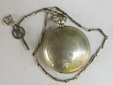 ANTIQUE OTTOMAN MILLITARY KEY WIND POCKET WATCH J.DENT LONDON WITH CHAIN-1860